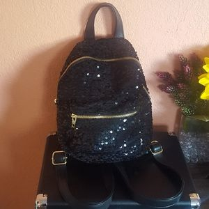 Mossimo Supply Co Sequin Black Backpack EUC
